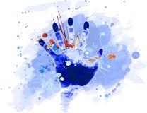 Het af:drukken van de hand & watercolour Stock Foto