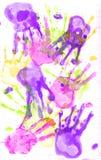 Het af:drukken van de hand op papier. Royalty-vrije Stock Afbeeldingen