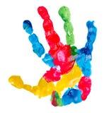 Het af:drukken van de het kindhand van de kleur Stock Afbeeldingen