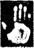 Het af:drukken van Grunge van een palm. Royalty-vrije Stock Afbeeldingen