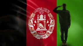 Het Afghaanse militairsilhouet groeten tegen nationale vlag, krijgswet, defensie stock videobeelden
