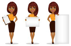 Het Afrikaanse Amerikaanse karakter van het bedrijfsvrouwenbeeldverhaal royalty-vrije illustratie