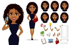 Het Afrikaanse Amerikaanse karakter van het bedrijfsvrouwenbeeldverhaal vector illustratie