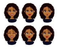Het Afrikaanse Amerikaanse karakter van het bedrijfsvrouwenbeeldverhaal Royalty-vrije Stock Foto