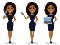 Het Afrikaanse Amerikaanse karakter van het bedrijfsvrouwenbeeldverhaal, reeks royalty-vrije illustratie
