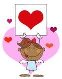 Het Afrikaanse Amerikaanse Meisje van de Cupido met het Hart van de Banner Royalty-vrije Stock Afbeelding