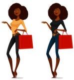 Het Afrikaanse Amerikaanse meisje winkelen Stock Afbeelding