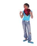 Het Afrikaanse Amerikaanse Punt van het Meisje bij Royalty-vrije Stock Foto's