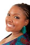 Het Afrikaanse Amerikaanse vrouw glimlachen Stock Afbeelding