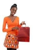 Het Afrikaanse Amerikaanse vrouw winkelen Stock Afbeelding