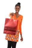 Het Afrikaanse Amerikaanse vrouw winkelen Stock Foto's