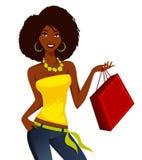 Het Afrikaanse Amerikaanse vrouw winkelen Royalty-vrije Stock Foto's