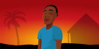 Het Afrikaanse Dorp van de Jongenszonsondergang Royalty-vrije Stock Afbeeldingen