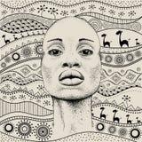 Het Afrikaanse Meisje met Afrikaanse hand trekt ethnopatroon, stammenachtergrond Mooie zwarte De mening van het profiel Vector il Royalty-vrije Stock Foto's