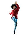 Het Afrikaanse mens lopende springende geïsoleerd groeten royalty-vrije stock fotografie