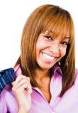 Het Afrikaanse vrouw glimlachen Stock Afbeelding