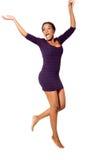 Het Afrikaanse vrouw springen Stock Afbeeldingen