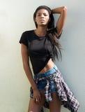Het Afrikaanse vrouwelijke mannequin stellen met borrels stock afbeeldingen
