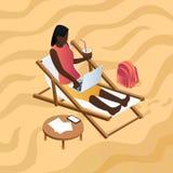 Het Afrikaanse vrouwenwerk bij de achtergrond van het ligstoelconcept, isometrische stijl vector illustratie