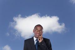 Het Afrikaanse zakenman denken royalty-vrije stock foto