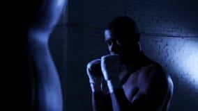 Het Afro-Amerikaanse de schaduw van de bokseratleet in dozen doen in gymnastiek stock footage
