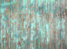 Het afschilferen blauw schilderde oude grijze houten plankmuur of omheining Stock Fotografie