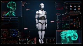 Het aftasten van het roterende witte lichaam van de huid 3D robot in digitale interface het paneel van de computervertoning stock illustratie