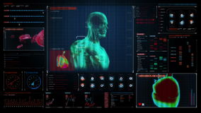 Het aftasten van menselijke 3D Medische Wetenschap in digitale medische vertoning Gebruikersinterface royalty-vrije illustratie