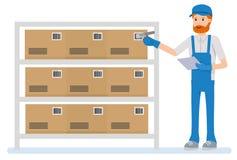 Het aftastenstreepjescode van de pakhuisarbeider op vakje in een groot pakhuis Stock Afbeelding