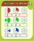 Het aftrekken van Fracties Wiskundig Aantekenvel driehoeken Kleurende boekpagina Wiskunderaadsel Onderwijs spel Vector illustrati vector illustratie