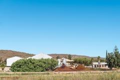 Het afval van een wijnmakerij wordt gebruikt om compost te maken Royalty-vrije Stock Foto