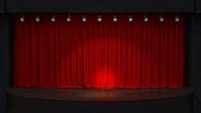 Het Akte drapeert met rode gordijnen stock fotografie