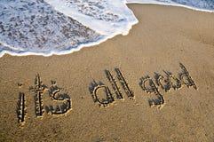 Het is al goed dat in het zand wordt geschreven Royalty-vrije Stock Afbeelding