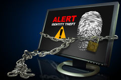 Het alarm van de Diefstal van identiteitskaart van de computer Stock Fotografie