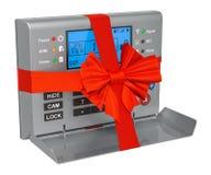 Het alarmsysteem van de huisveiligheid met boog en lint, giftconcept het 3d teruggeven stock illustratie