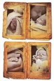 Het albumpagina's van Grunge met fotoframes Stock Foto's