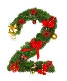 Het Alfabet Nummer 2 van Kerstmis Royalty-vrije Stock Afbeeldingen