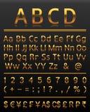 Het alfabet plaatste goud 2 alle brieven Royalty-vrije Stock Afbeelding