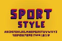 Het Alfabet retro ontwerp van de sportenstijl Vectorletters, getallen en leestekens royalty-vrije stock afbeeldingen