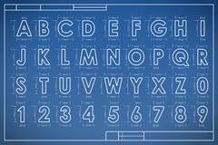 Het alfabet van de blauwdrukdoopvont Stock Afbeeldingen