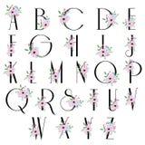 Het alfabet van de bloemenbloei - doopvont voor het ontwerp van het huwelijksembleem stock illustratie