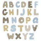 Het alfabet van de krabbel Stock Foto's
