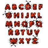 Het alfabet van de lieveheersbeestjedierentuin De Engelse jonge geitjes van het onderwijskaarten van abcdieren stock afbeeldingen