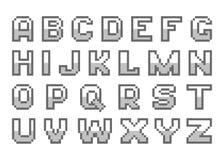 Het alfabet van de pixelkunst Stock Afbeeldingen
