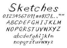Het alfabet van de schets Stock Afbeeldingen