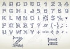 Het alfabet van de schets. Vector illustratie Royalty-vrije Stock Foto's