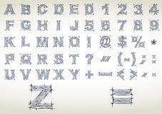 Het alfabet van de schets. Vector illustratie Stock Foto