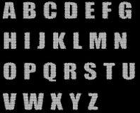 Het alfabet van de schetsborstel Royalty-vrije Stock Afbeeldingen