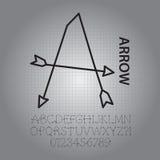 Het Alfabet van de silhouetpijl en Aantallenvector Stock Fotografie