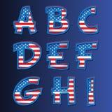 Het alfabet van de V.S. op een blauwe achtergrond Stock Fotografie